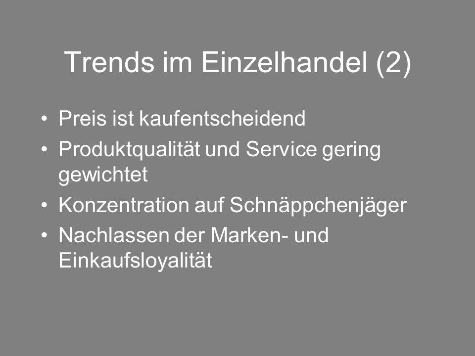 Trends im Einzelhandel (2) Preis ist kaufentscheidend Produktqualität und Service gering gewichtet Konzentration auf Schnäppchenjäger Nachlassen der M