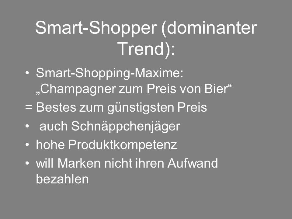 """Smart-Shopper (dominanter Trend): Smart-Shopping-Maxime: """"Champagner zum Preis von Bier"""" = Bestes zum günstigsten Preis auch Schnäppchenjäger hohe Pro"""
