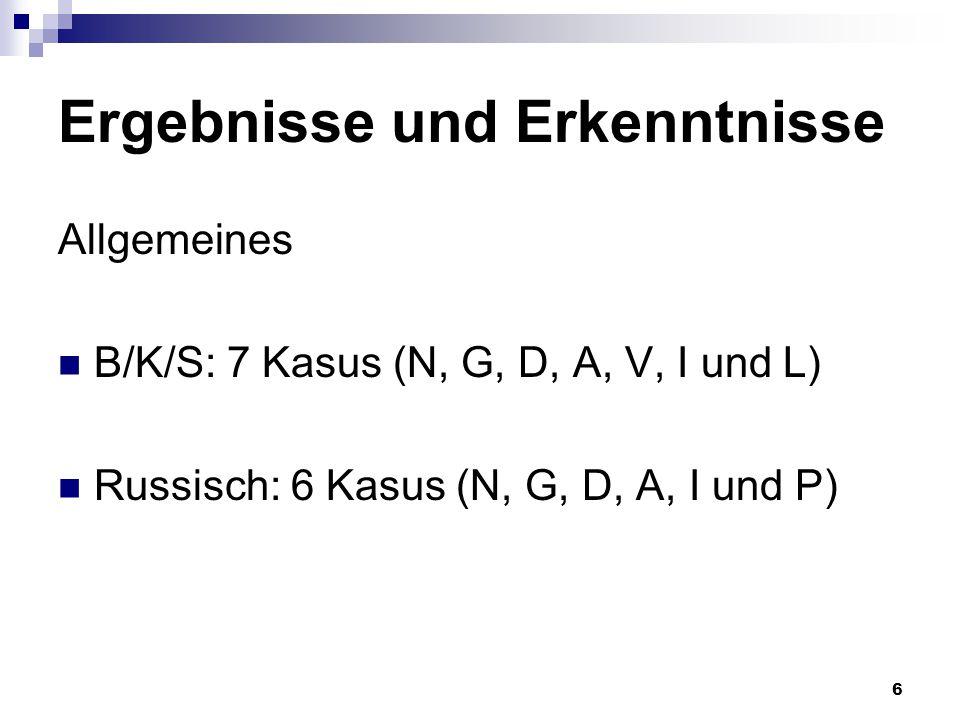 6 Ergebnisse und Erkenntnisse Allgemeines B/K/S: 7 Kasus (N, G, D, A, V, I und L) Russisch: 6 Kasus (N, G, D, A, I und P)