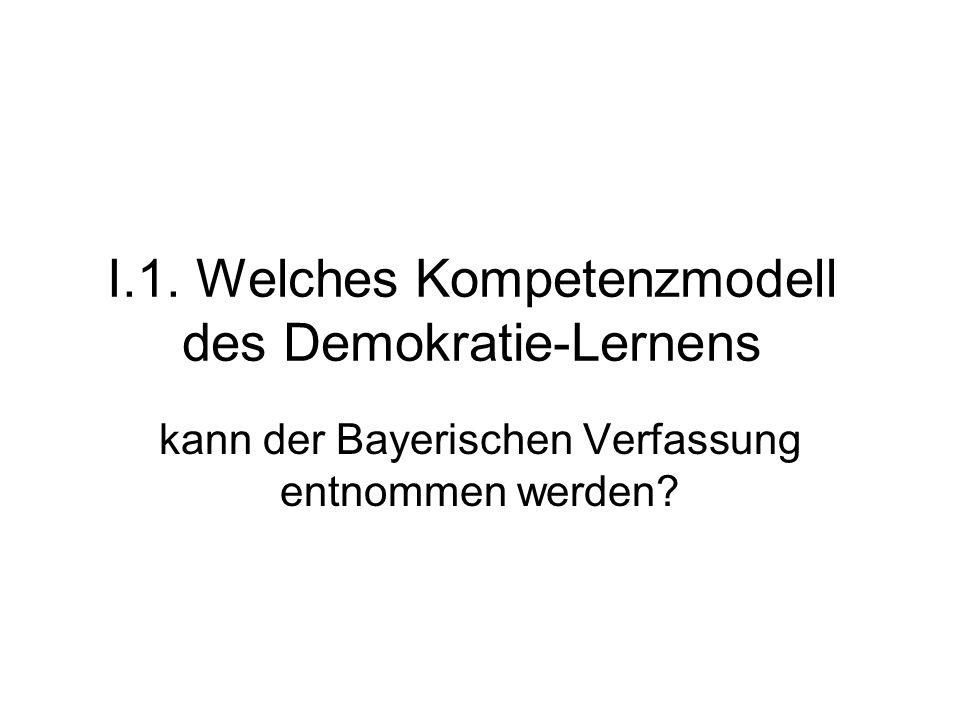 I.1. Welches Kompetenzmodell des Demokratie-Lernens kann der Bayerischen Verfassung entnommen werden?