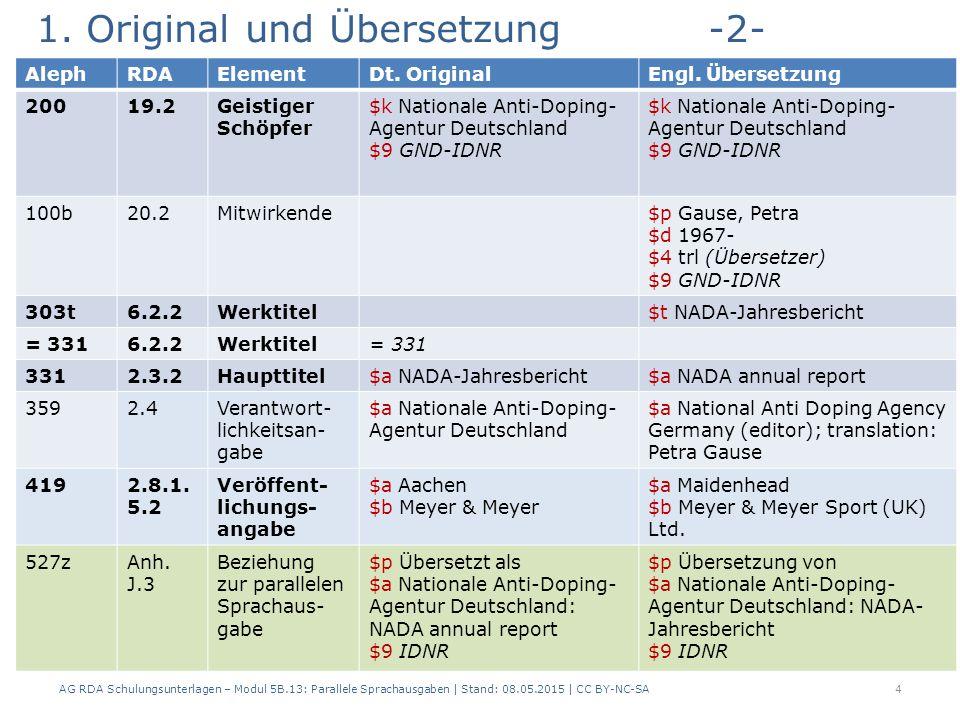 1. Original und Übersetzung-2- AG RDA Schulungsunterlagen – Modul 5B.13: Parallele Sprachausgaben | Stand: 08.05.2015 | CC BY-NC-SA4 AlephRDAElementDt