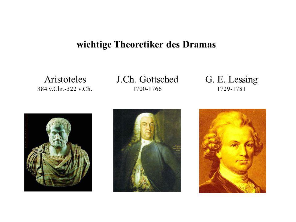 wichtige Theoretiker des Dramas Aristoteles 384 v.Chr.-322 v.Ch. J.Ch. Gottsched 1700-1766 G. E. Lessing 1729-1781
