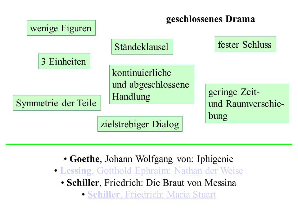 Goethe, Johann Wolfgang von: Iphigenie Lessing, Gotthold Ephraim: Nathan der WeiseLessing, Gotthold Ephraim: Nathan der Weise Schiller, Friedrich: Die