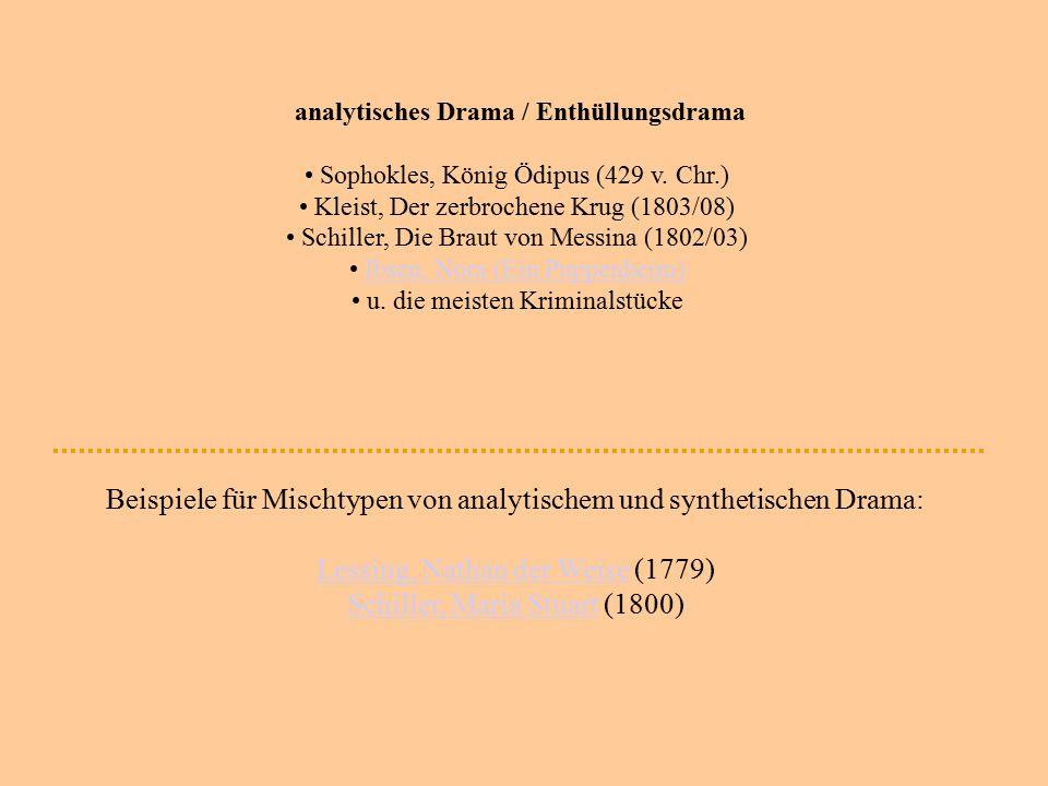analytisches Drama / Enthüllungsdrama Sophokles, König Ödipus (429 v. Chr.) Kleist, Der zerbrochene Krug (1803/08) Schiller, Die Braut von Messina (18