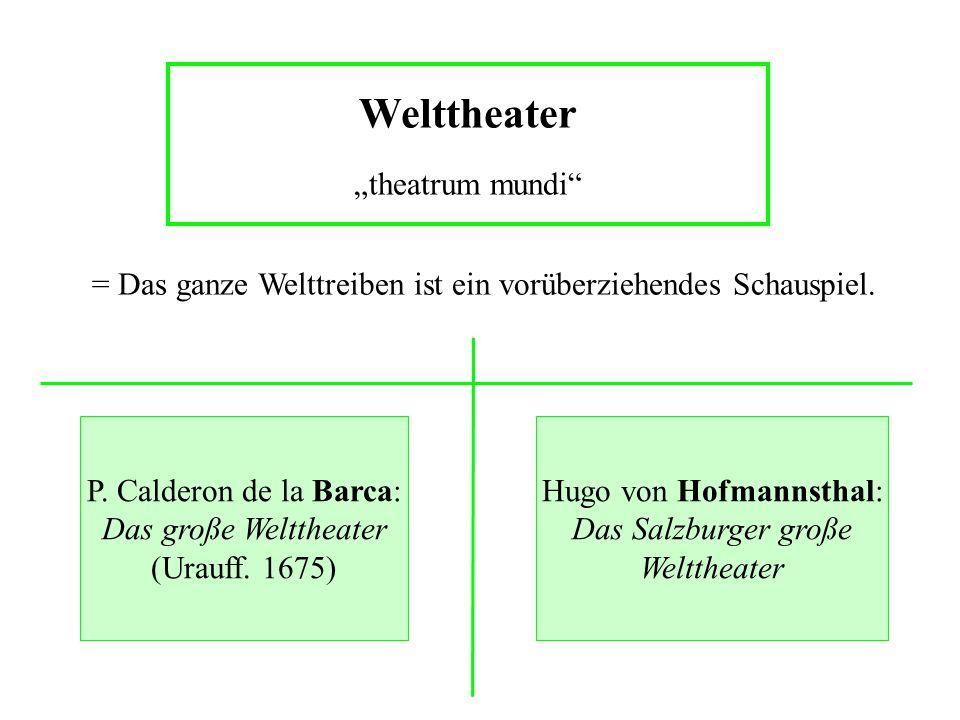 """Welttheater """"theatrum mundi"""" P. Calderon de la Barca: Das große Welttheater (Urauff. 1675) Hugo von Hofmannsthal: Das Salzburger große Welttheater = D"""