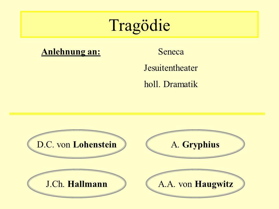 Tragödie Anlehnung an: Seneca Jesuitentheater holl. Dramatik D.C. von LohensteinA. Gryphius A.A. von HaugwitzJ.Ch. Hallmann