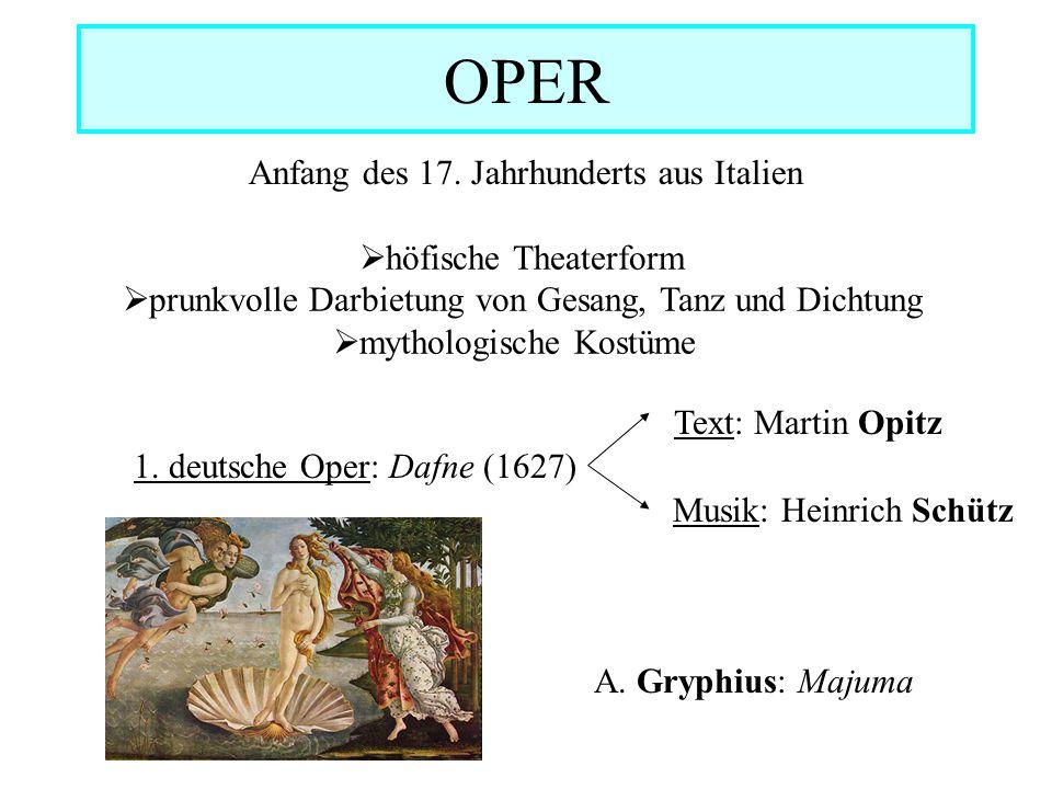 OPER Anfang des 17. Jahrhunderts aus Italien  höfische Theaterform  prunkvolle Darbietung von Gesang, Tanz und Dichtung  mythologische Kostüme 1. d