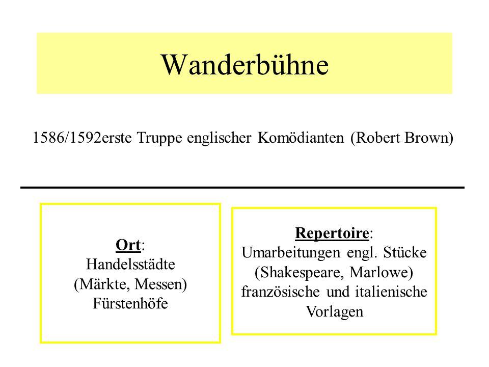Wanderbühne 1586/1592erste Truppe englischer Komödianten (Robert Brown) Ort: Handelsstädte (Märkte, Messen) Fürstenhöfe Repertoire: Umarbeitungen engl