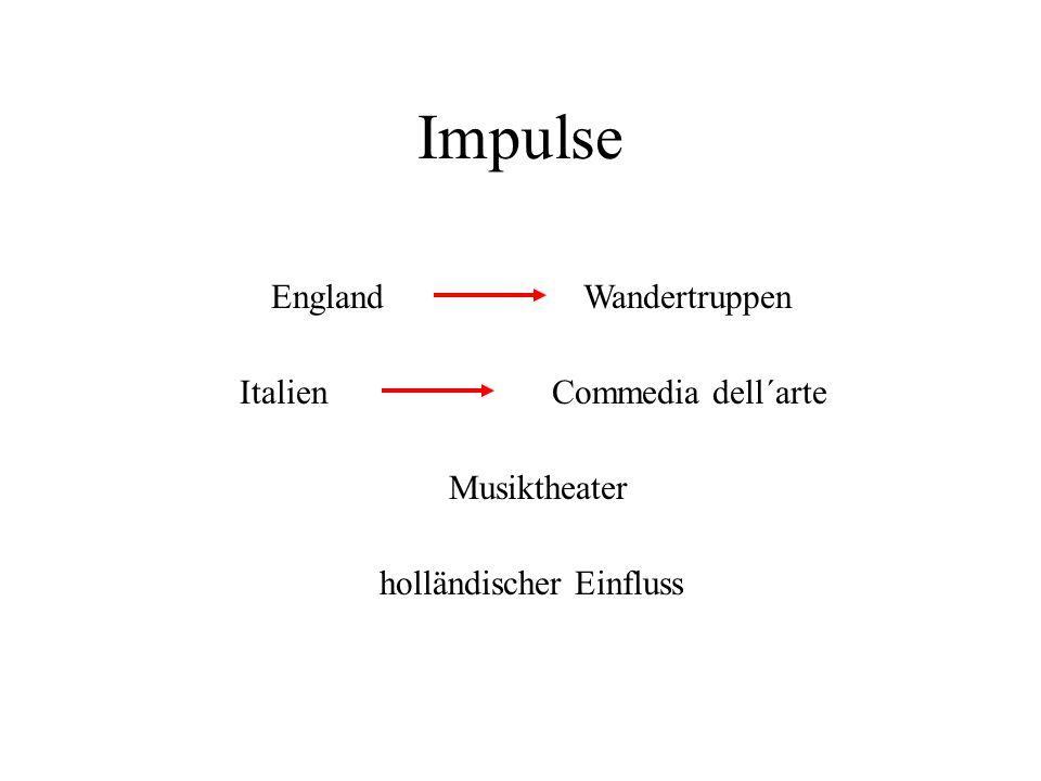 Impulse EnglandWandertruppen ItalienCommedia dell´arte Musiktheater holländischer Einfluss