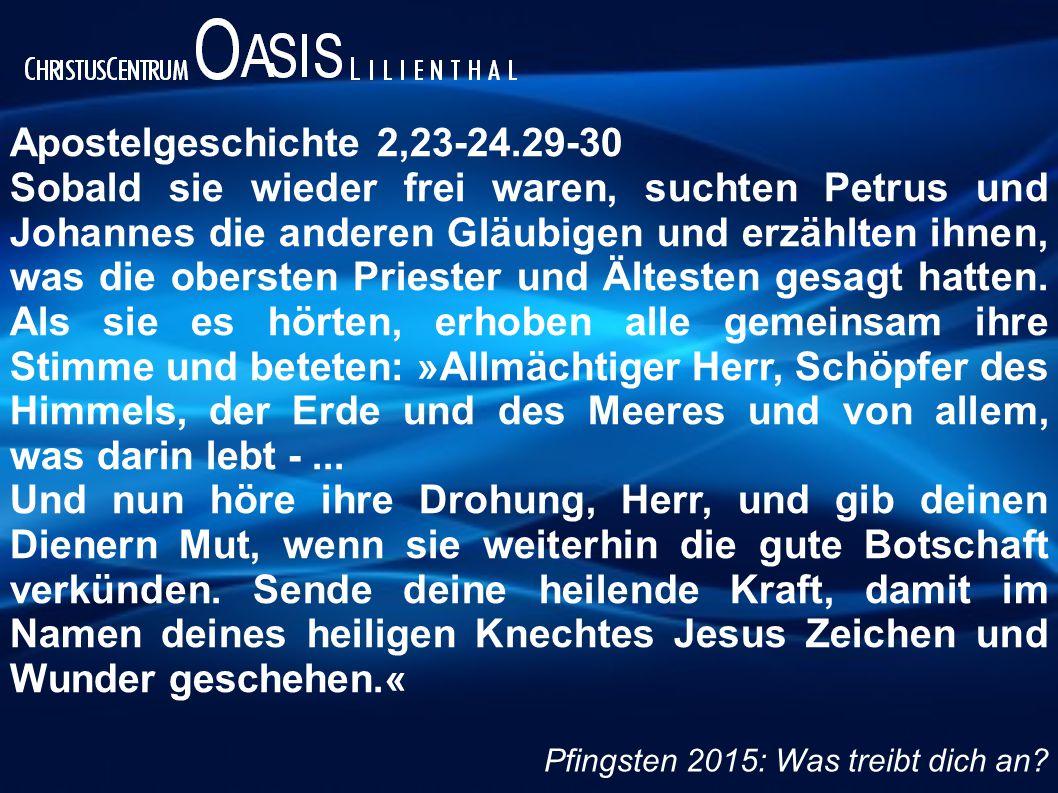 Apostelgeschichte 2,23-24.29-30 Sobald sie wieder frei waren, suchten Petrus und Johannes die anderen Gläubigen und erzählten ihnen, was die obersten Priester und Ältesten gesagt hatten.