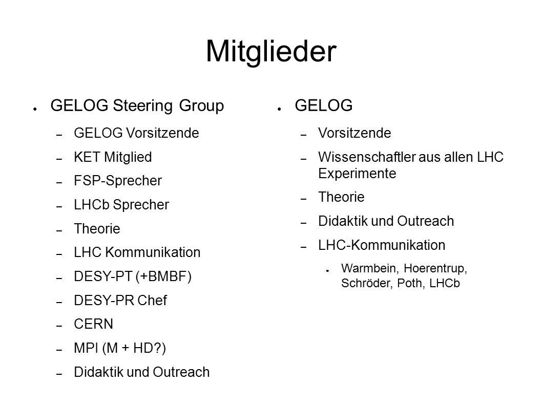 Mitglieder ● GELOG Steering Group – GELOG Vorsitzende – KET Mitglied – FSP-Sprecher – LHCb Sprecher – Theorie – LHC Kommunikation – DESY-PT (+BMBF) – DESY-PR Chef – CERN – MPI (M + HD ) – Didaktik und Outreach ● GELOG – Vorsitzende – Wissenschaftler aus allen LHC Experimente – Theorie – Didaktik und Outreach – LHC-Kommunikation ● Warmbein, Hoerentrup, Schröder, Poth, LHCb