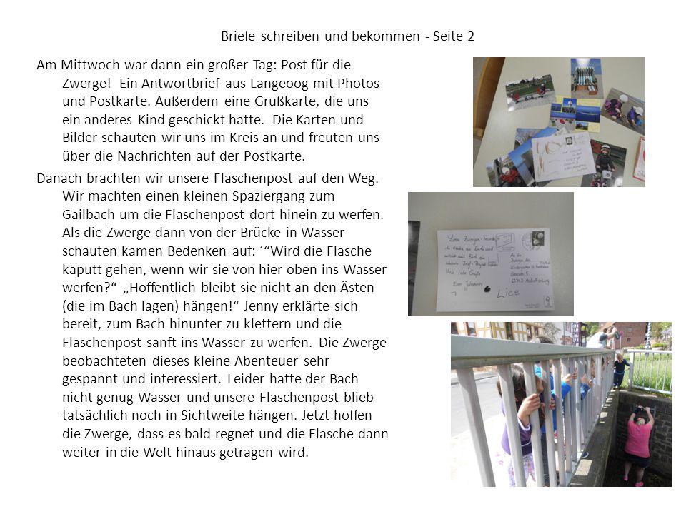 Briefe schreiben und bekommen - Seite 2 Am Mittwoch war dann ein großer Tag: Post für die Zwerge! Ein Antwortbrief aus Langeoog mit Photos und Postkar