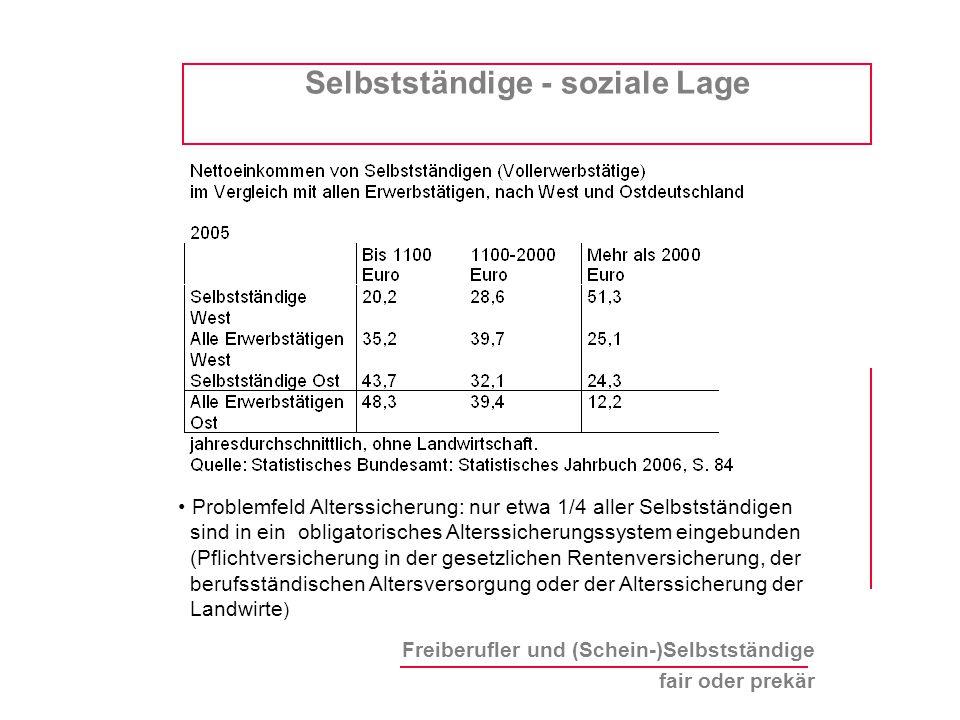Freiberufler und (Schein-)Selbstständige fair oder prekär Selbstständige - soziale Lage Problemfeld Alterssicherung: nur etwa 1/4 aller Selbstständige