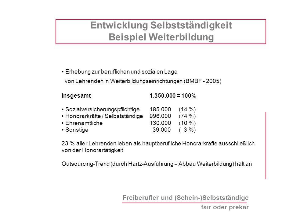 Freiberufler und (Schein-)Selbstständige fair oder prekär Erhebung zur beruflichen und sozialen Lage von Lehrenden in Weiterbildungseinrichtungen (BMB
