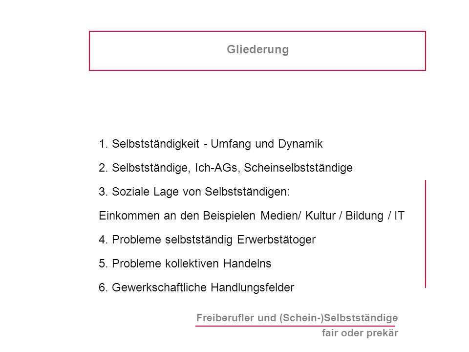 Freiberufler und (Schein-)Selbstständige fair oder prekär Gliederung 1.