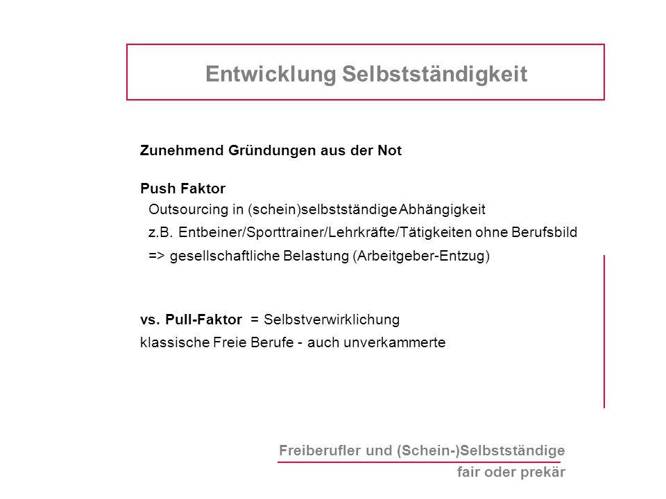 Freiberufler und (Schein-)Selbstständige fair oder prekär Zunehmend Gründungen aus der Not Push Faktor Outsourcing in (schein)selbstständige Abhängigkeit z.B.