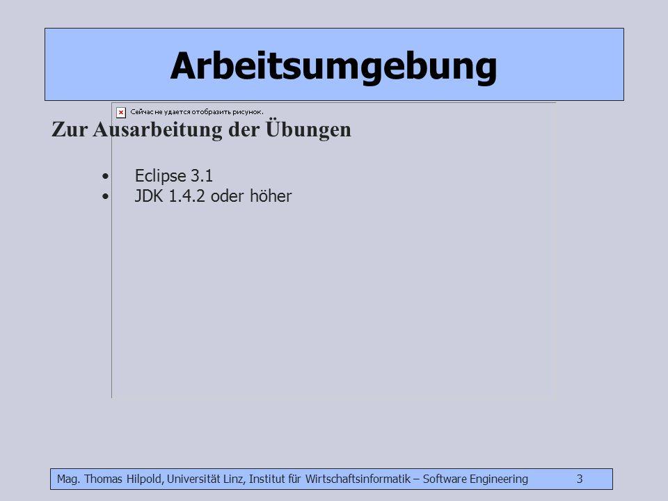 Mag. Thomas Hilpold, Universität Linz, Institut für Wirtschaftsinformatik – Software Engineering 3 Arbeitsumgebung Zur Ausarbeitung der Übungen Eclips