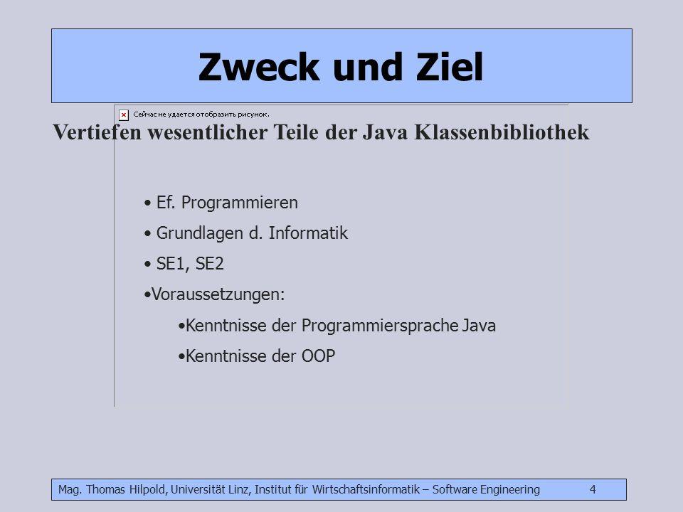 Mag. Thomas Hilpold, Universität Linz, Institut für Wirtschaftsinformatik – Software Engineering 4 Vertiefen wesentlicher Teile der Java Klassenbiblio