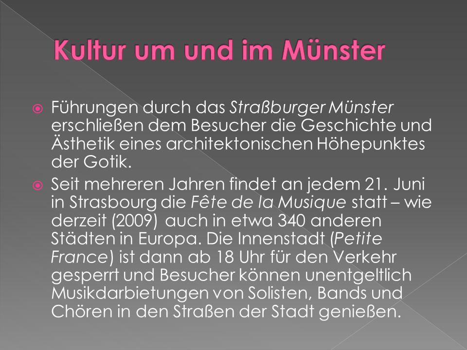  Führungen durch das Straßburger Münster erschließen dem Besucher die Geschichte und Ästhetik eines architektonischen Höhepunktes der Gotik.  Seit m
