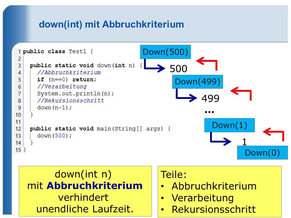 down(int) mit Abbruchkriterium Down(500) 500 Down(499) 499 Down(1) 1 Down(0) down(int n) mit Abbruchkriterium verhindert unendliche Laufzeit. … Teile: