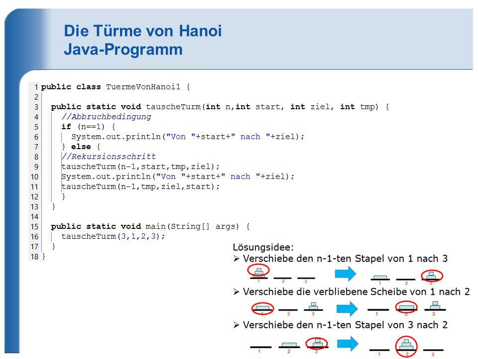 Die Türme von Hanoi Java-Programm