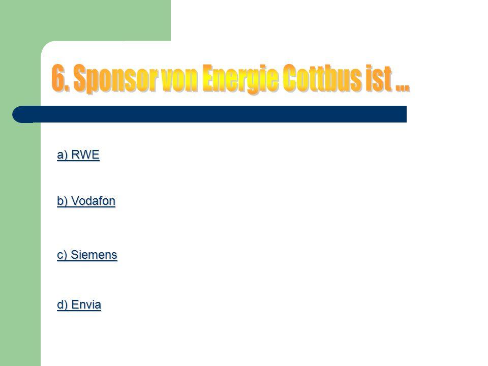 a) RWE a) RWE b) Vodafon b) Vodafon c) Siemens c) Siemens d) Envia d) Envia
