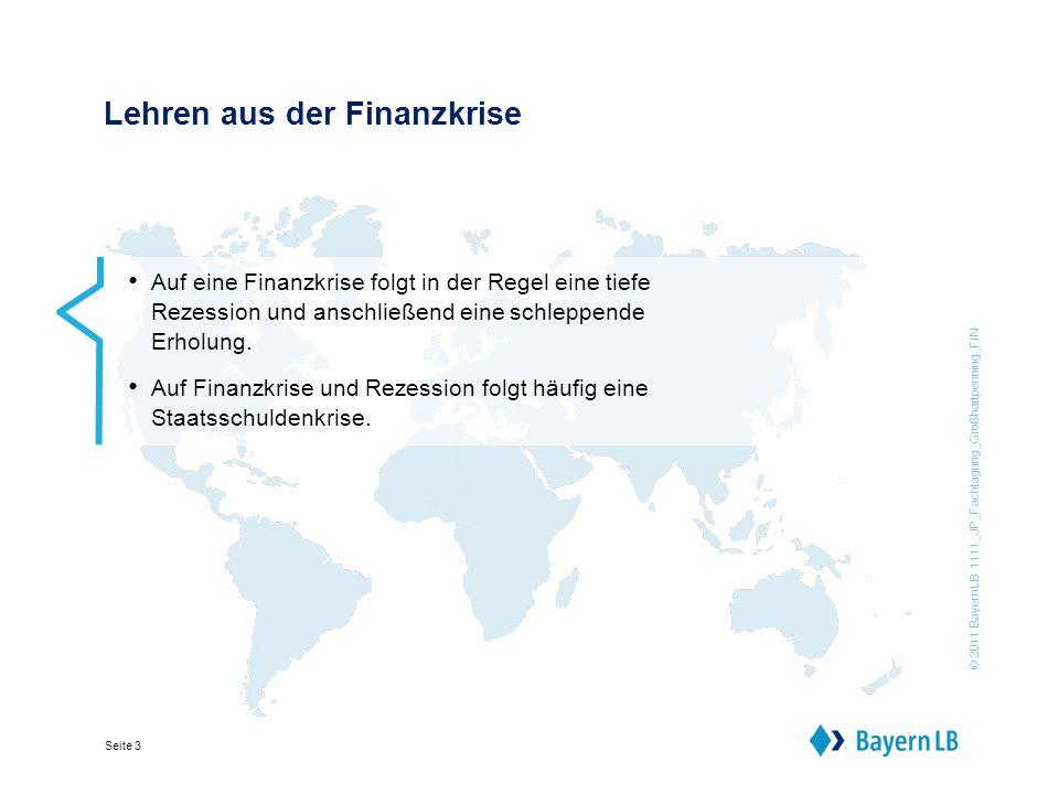 © 2011 BayernLB 1111_JP_Fachtagung_Großhartpenning_FIN Seite 3 Lehren aus der Finanzkrise Auf eine Finanzkrise folgt in der Regel eine tiefe Rezession und anschließend eine schleppende Erholung.