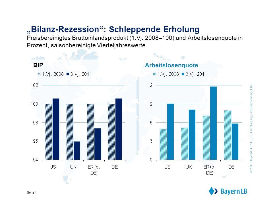"""© 2011 BayernLB 1111_JP_Fachtagung_Großhartpenning_FIN Seite 4 """"Bilanz-Rezession : Schleppende Erholung Preisbereinigtes Bruttoinlandsprodukt (1.Vj."""