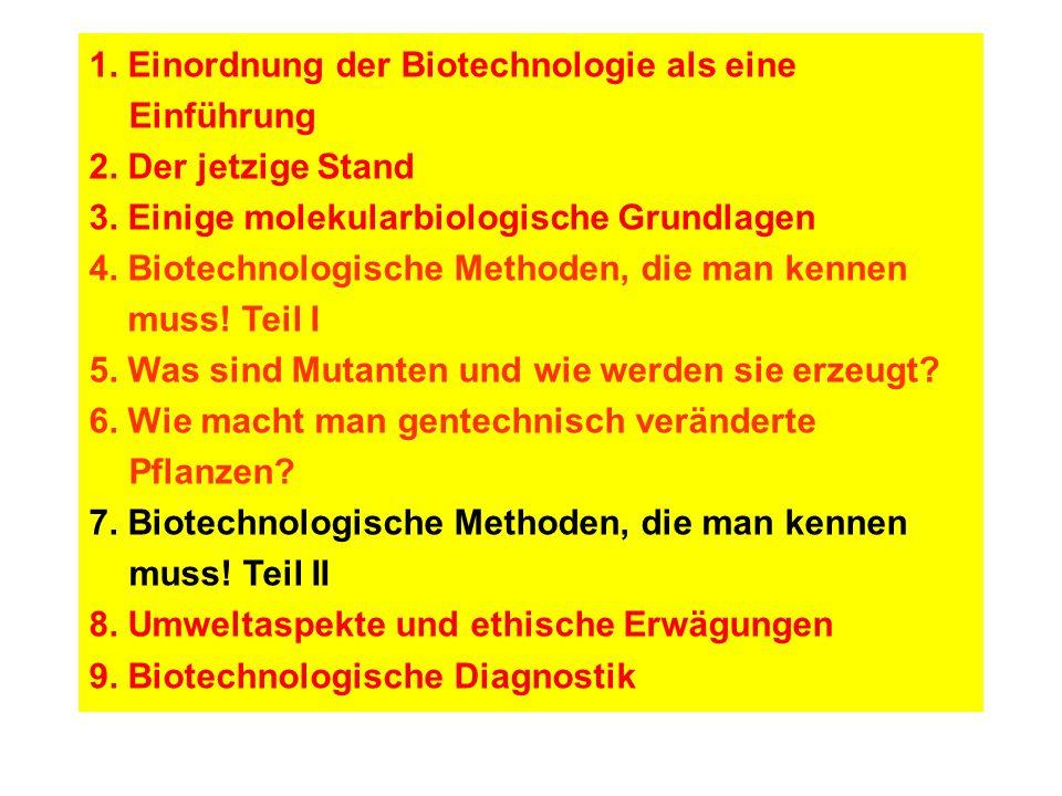 1.Einordnung der Biotechnologie als eine Einführung 2.