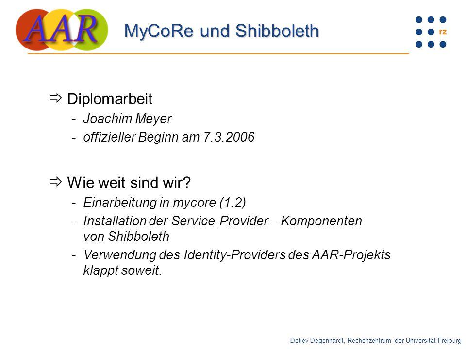 Detlev Degenhardt, Rechenzentrum der Universität Freiburg MyCoRe und Shibboleth  Diplomarbeit - Joachim Meyer - offizieller Beginn am 7.3.2006  Wie weit sind wir.