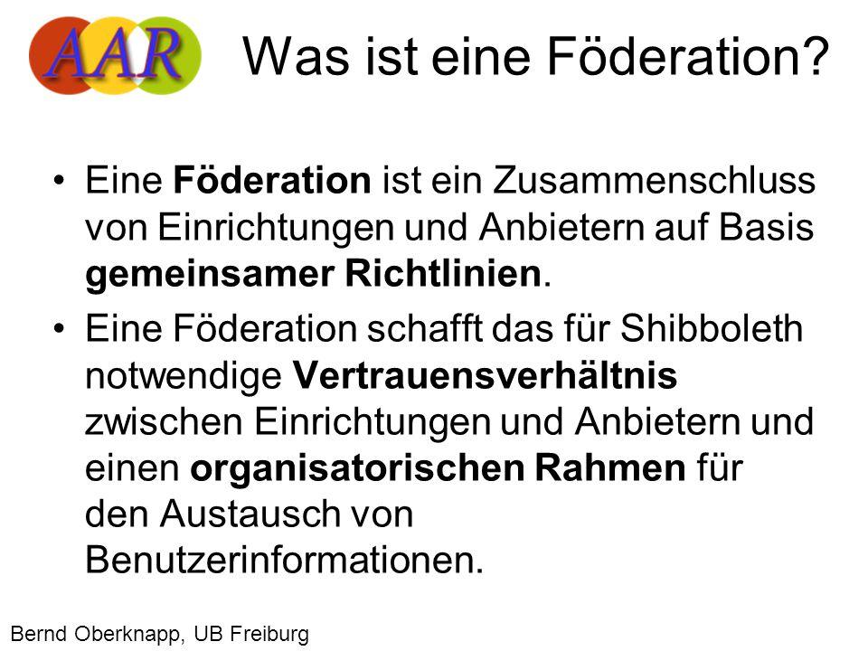 Eine Föderation ist ein Zusammenschluss von Einrichtungen und Anbietern auf Basis gemeinsamer Richtlinien.
