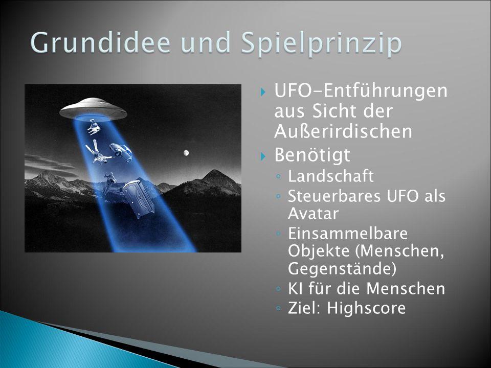 UFO-Entführungen aus Sicht der Außerirdischen  Benötigt ◦ Landschaft ◦ Steuerbares UFO als Avatar ◦ Einsammelbare Objekte (Menschen, Gegenstände) ◦ KI für die Menschen ◦ Ziel: Highscore
