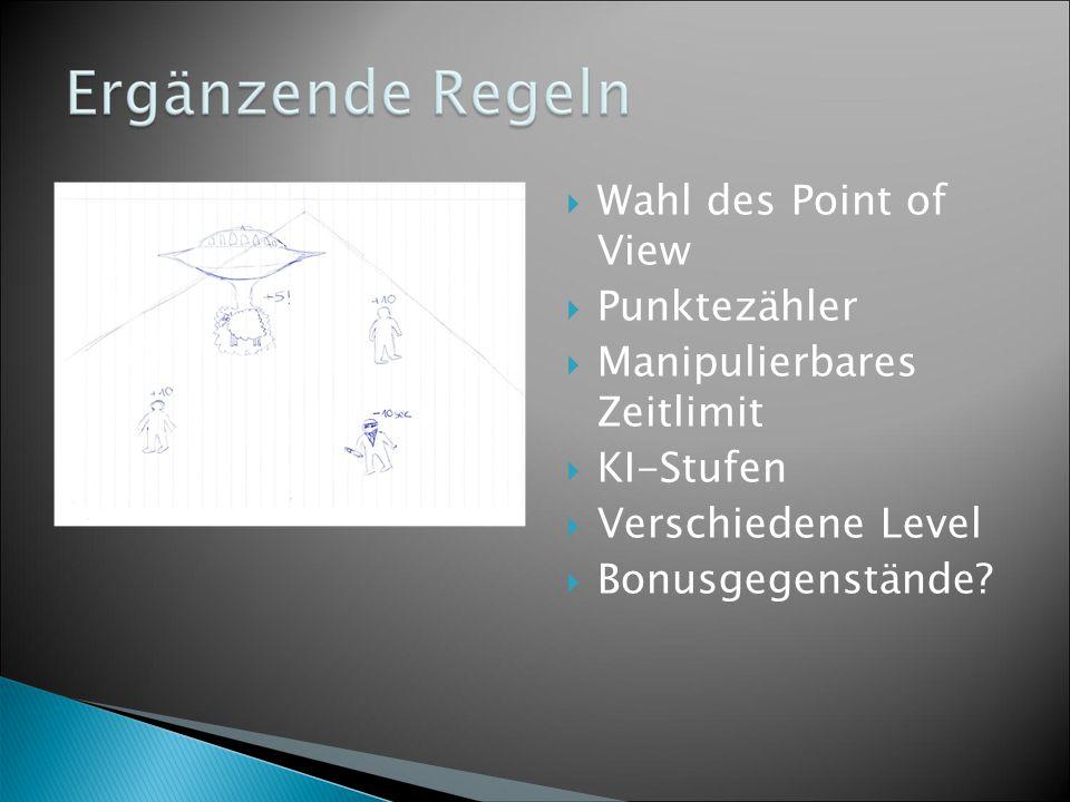  Wahl des Point of View  Punktezähler  Manipulierbares Zeitlimit  KI-Stufen  Verschiedene Level  Bonusgegenstände