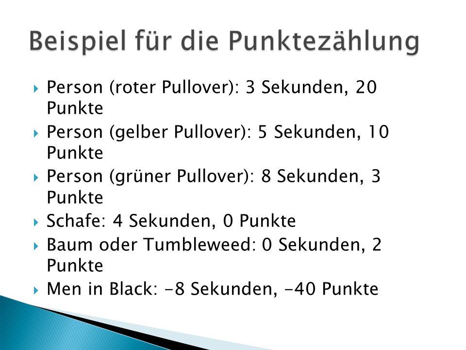  Person (roter Pullover): 3 Sekunden, 20 Punkte  Person (gelber Pullover): 5 Sekunden, 10 Punkte  Person (grüner Pullover): 8 Sekunden, 3 Punkte  Schafe: 4 Sekunden, 0 Punkte  Baum oder Tumbleweed: 0 Sekunden, 2 Punkte  Men in Black: -8 Sekunden, -40 Punkte