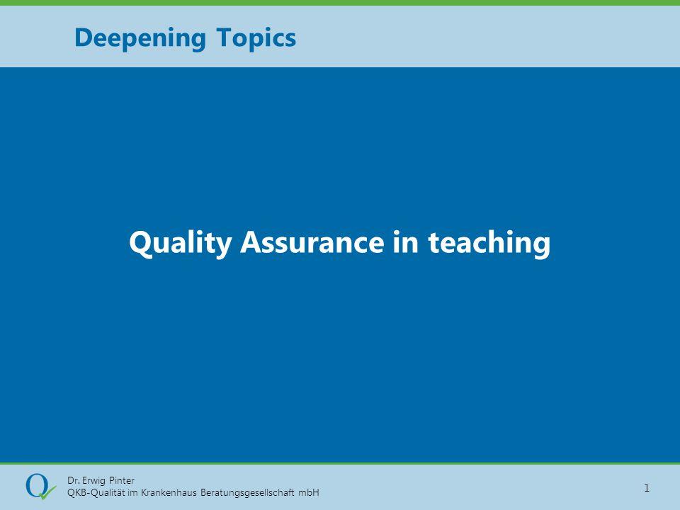 Dr. Erwig Pinter QKB-Qualität im Krankenhaus Beratungsgesellschaft mbH 1 Quality Assurance in teaching Deepening Topics