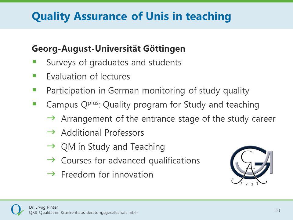 Dr. Erwig Pinter QKB-Qualität im Krankenhaus Beratungsgesellschaft mbH 10 Georg-August-Universität Göttingen  Surveys of graduates and students  Eva