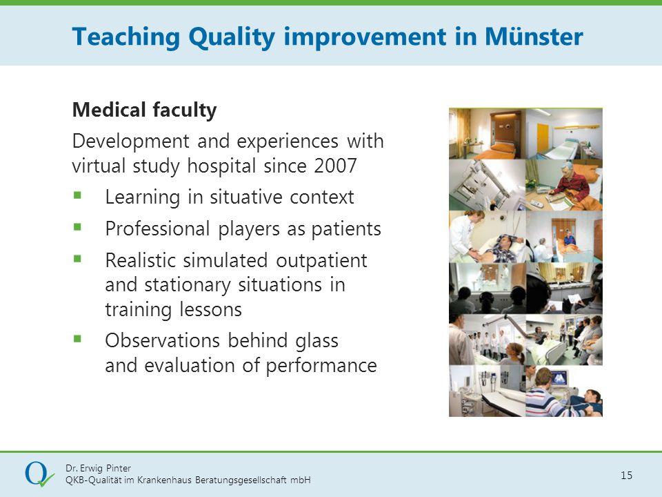 Dr. Erwig Pinter QKB-Qualität im Krankenhaus Beratungsgesellschaft mbH 15 Medical faculty Development and experiences with virtual study hospital sinc