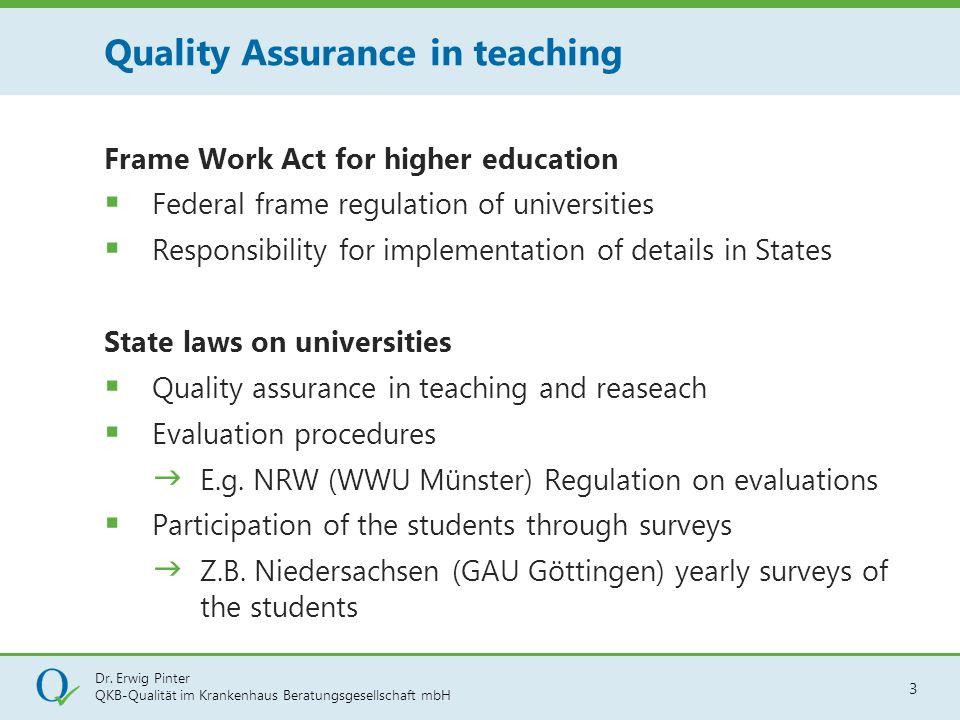 Dr. Erwig Pinter QKB-Qualität im Krankenhaus Beratungsgesellschaft mbH 3 Frame Work Act for higher education  Federal frame regulation of universitie