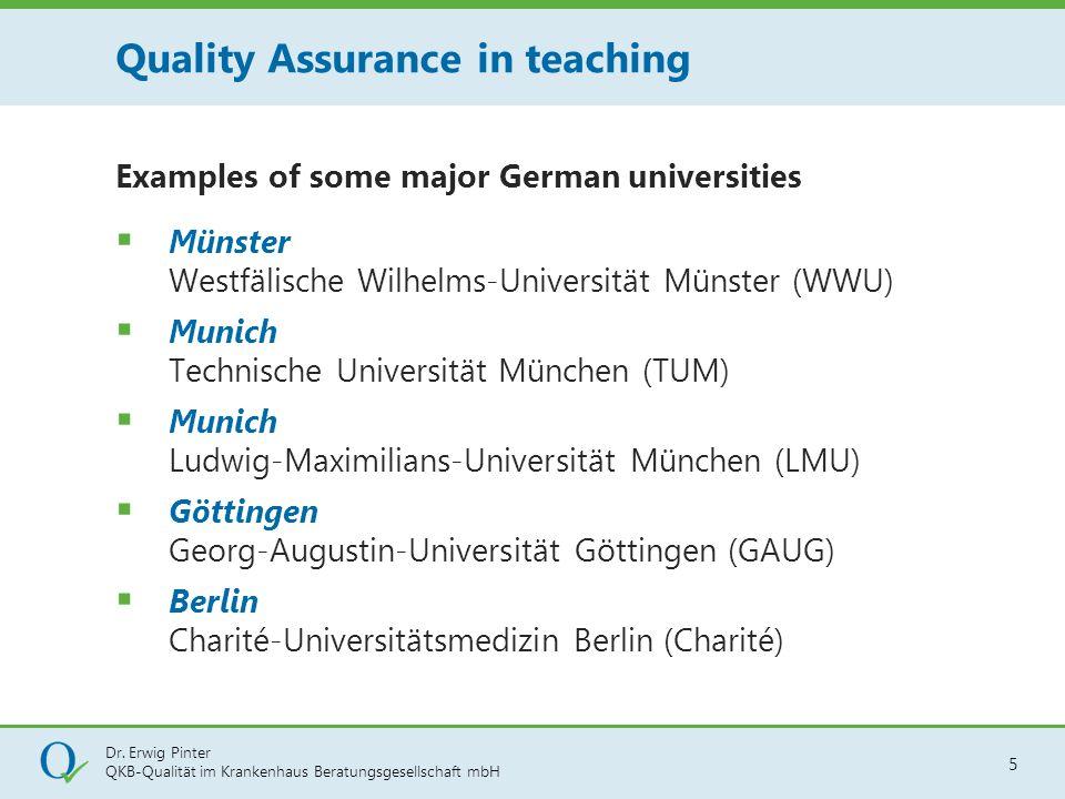 Dr. Erwig Pinter QKB-Qualität im Krankenhaus Beratungsgesellschaft mbH 5 Examples of some major German universities  Münster Westfälische Wilhelms-Un