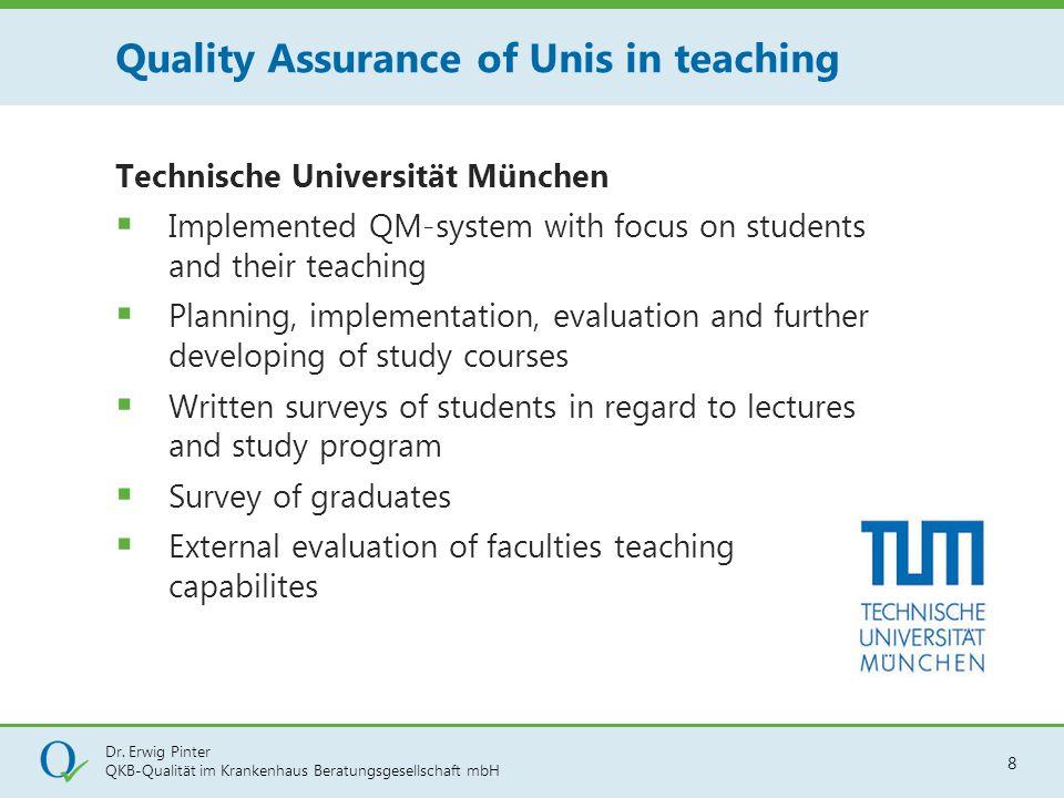 Dr. Erwig Pinter QKB-Qualität im Krankenhaus Beratungsgesellschaft mbH 8 Technische Universität München  Implemented QM-system with focus on students