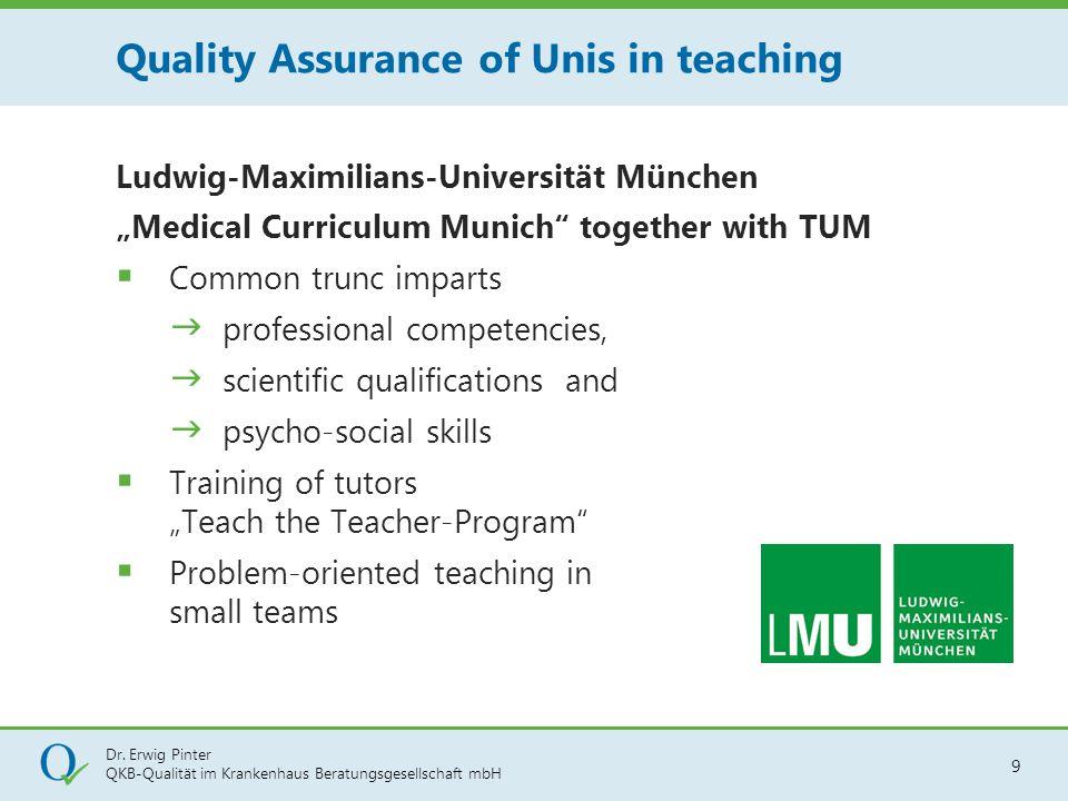 "Dr. Erwig Pinter QKB-Qualität im Krankenhaus Beratungsgesellschaft mbH 9 Ludwig-Maximilians-Universität München ""Medical Curriculum Munich"" together w"