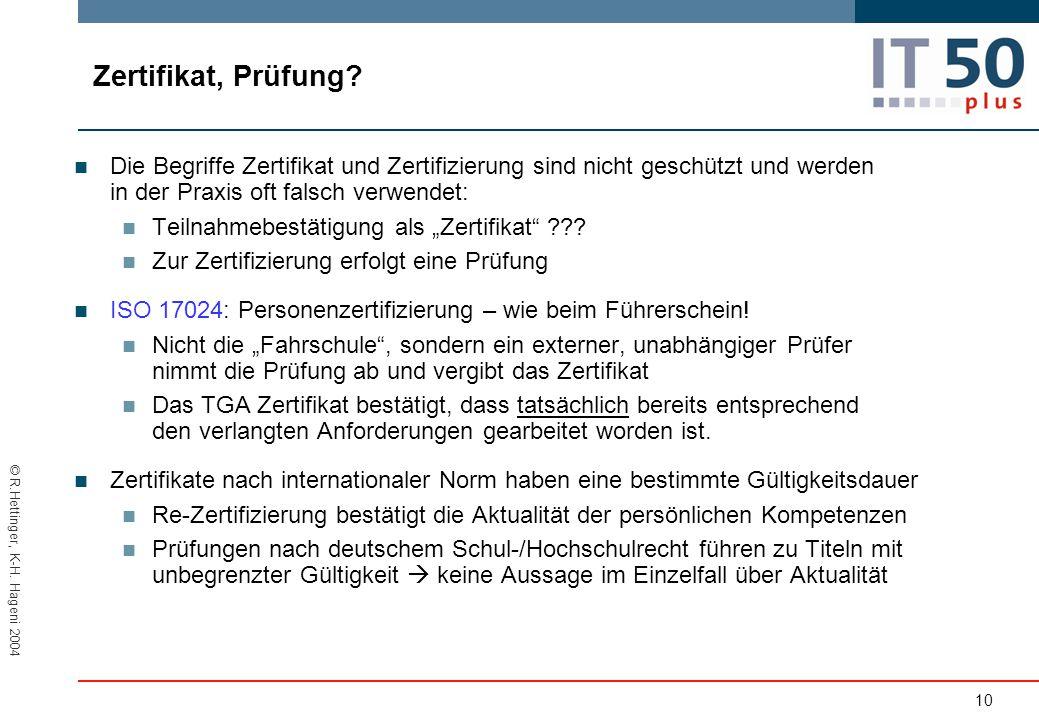 © R.Hettinger, K-H.Hageni 2004 Zertifikat, Prüfung.