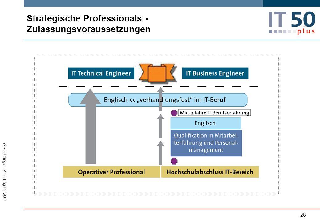 © R.Hettinger, K-H. Hageni 2004 Strategische Professionals - Zulassungsvoraussetzungen 28