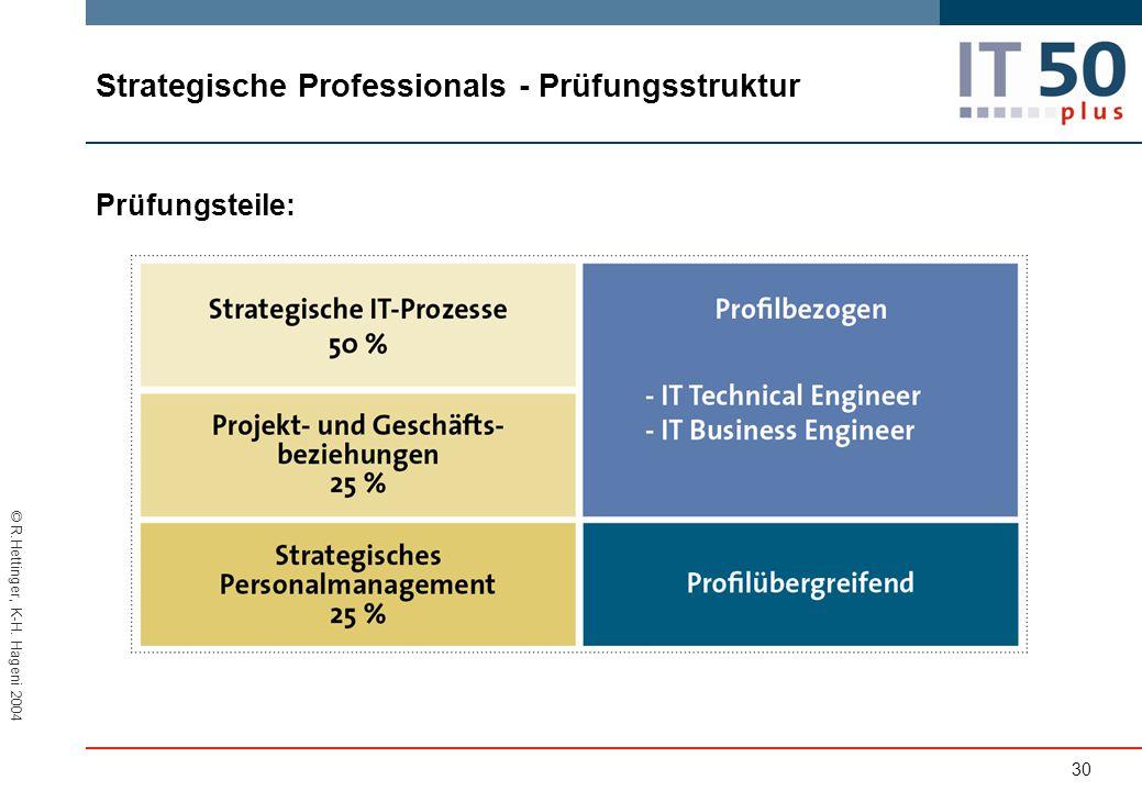 © R.Hettinger, K-H. Hageni 2004 Prüfungsteile: 30 Strategische Professionals - Prüfungsstruktur