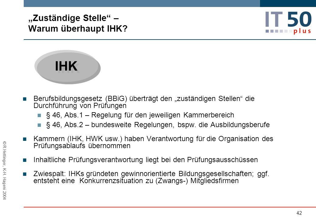 """© R.Hettinger, K-H.Hageni 2004 IHK """"Zuständige Stelle – Warum überhaupt IHK."""