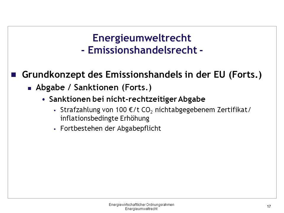 17 Energieumweltrecht - Emissionshandelsrecht - Grundkonzept des Emissionshandels in der EU (Forts.) Abgabe / Sanktionen (Forts.) Sanktionen bei nicht