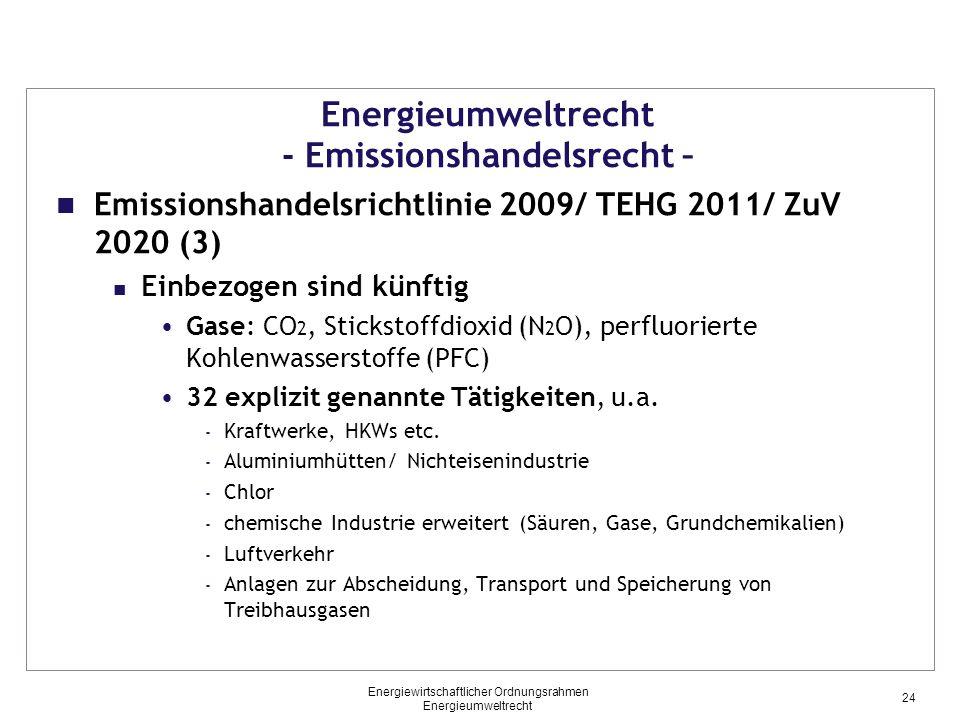 Energieumweltrecht - Emissionshandelsrecht – Emissionshandelsrichtlinie 2009/ TEHG 2011/ ZuV 2020 (3) Einbezogen sind künftig Gase: CO 2, Stickstoffdioxid (N 2 O), perfluorierte Kohlenwasserstoffe (PFC) 32 explizit genannte Tätigkeiten, u.a.