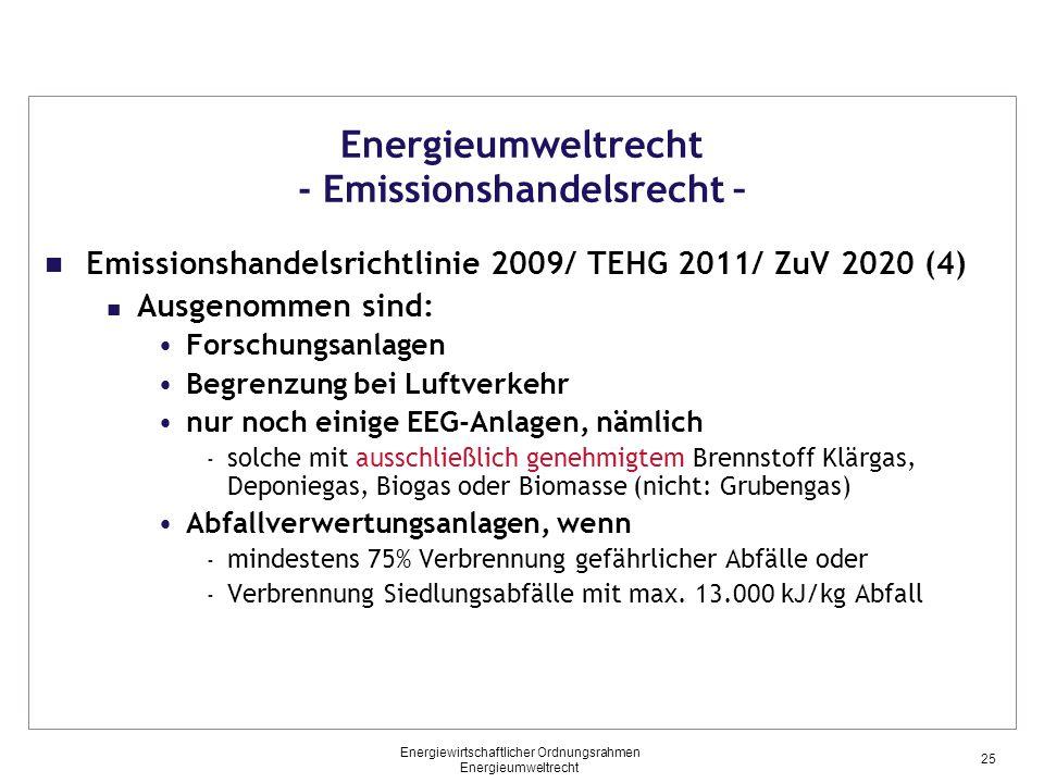 Energieumweltrecht - Emissionshandelsrecht – Emissionshandelsrichtlinie 2009/ TEHG 2011/ ZuV 2020 (4) Ausgenommen sind: Forschungsanlagen Begrenzung b