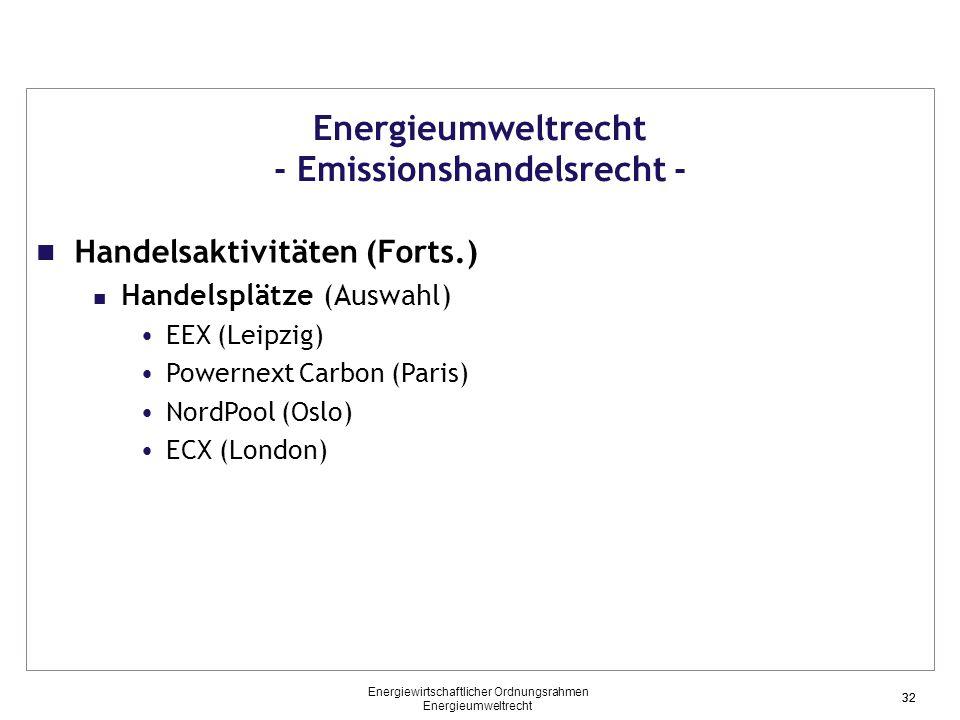 32 Energieumweltrecht - Emissionshandelsrecht - Handelsaktivitäten (Forts.) Handelsplätze (Auswahl) EEX (Leipzig) Powernext Carbon (Paris) NordPool (Oslo) ECX (London) 32 Energiewirtschaftlicher Ordnungsrahmen Energieumweltrecht