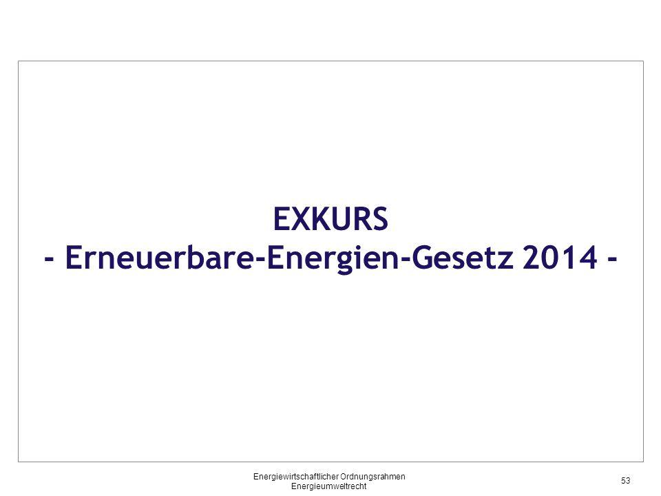 EXKURS - Erneuerbare-Energien-Gesetz 2014 - 53 Energiewirtschaftlicher Ordnungsrahmen Energieumweltrecht